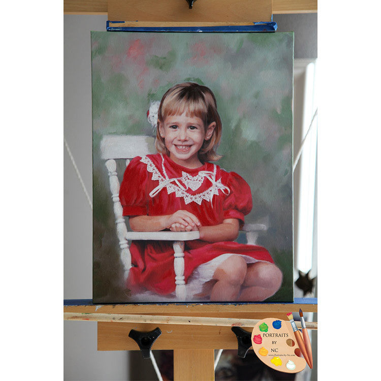 Girl on Rocking Chair Child Painting