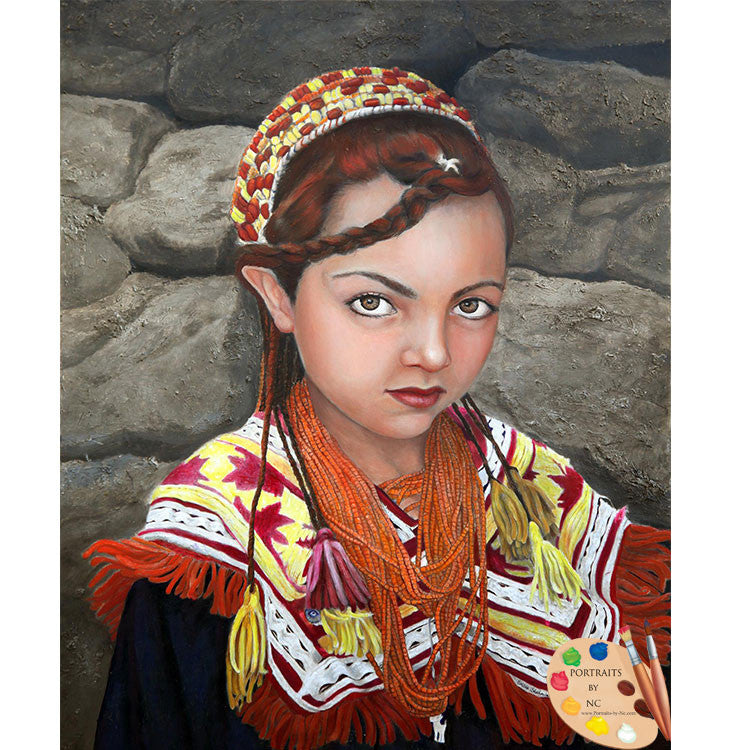 Child Portrait Pakistani Girl Print 78 - Portraits by NC