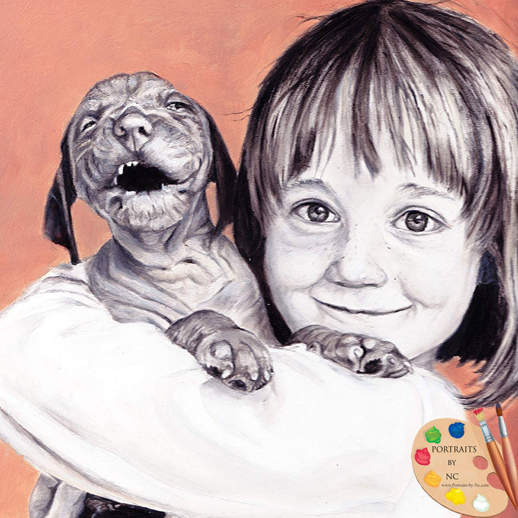 Child with Vizla Puppy Painting 233
