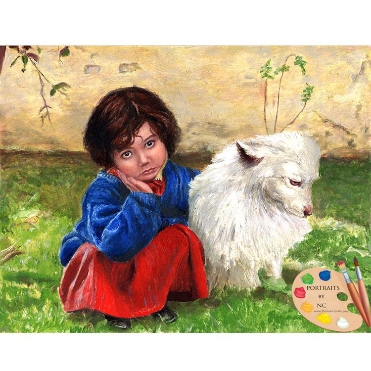 Children with Pets Oil Portrait - Girl with her Dog