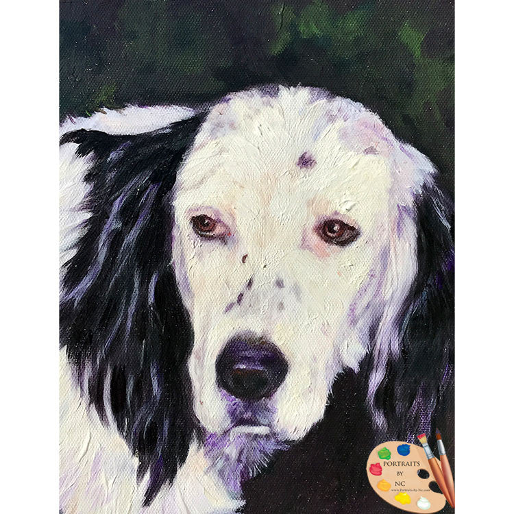 Black and White Cocker Spaniel Dog Painting