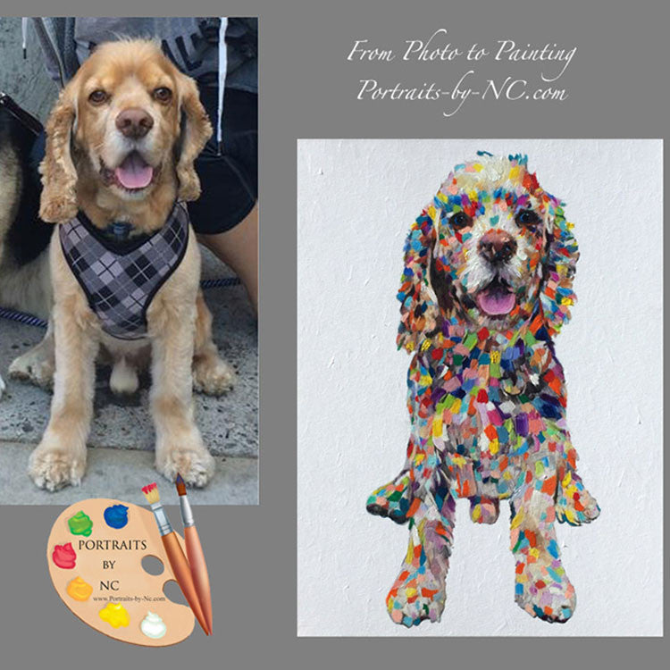 Colorful Cocker Spaniel Dog Portrait from Photo
