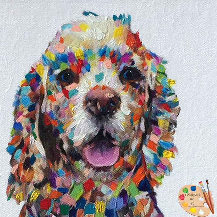 Colorful Cocker Spaniel Dog Portrait
