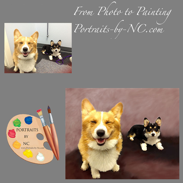 Corgis Group Portrait from Photo