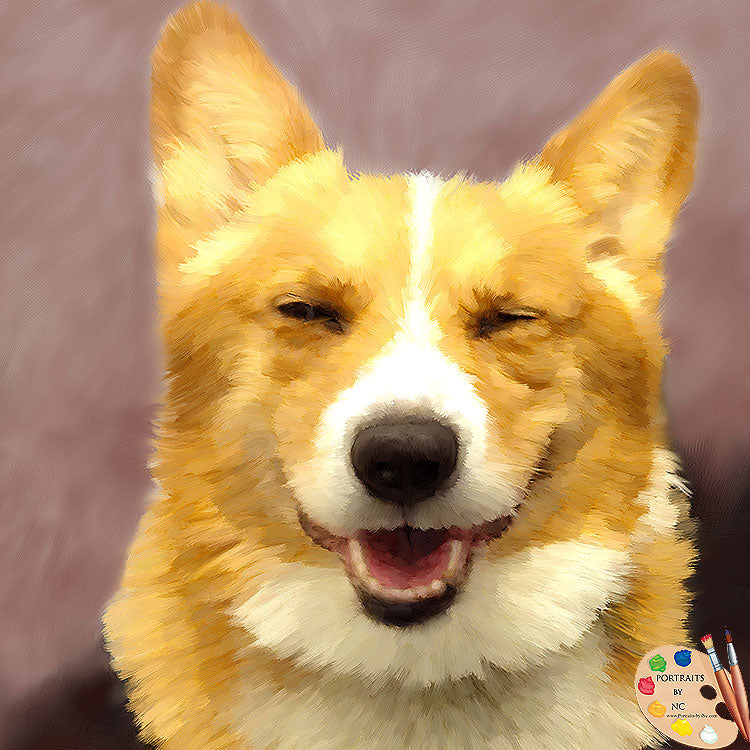 Smiling Corgi Portrait