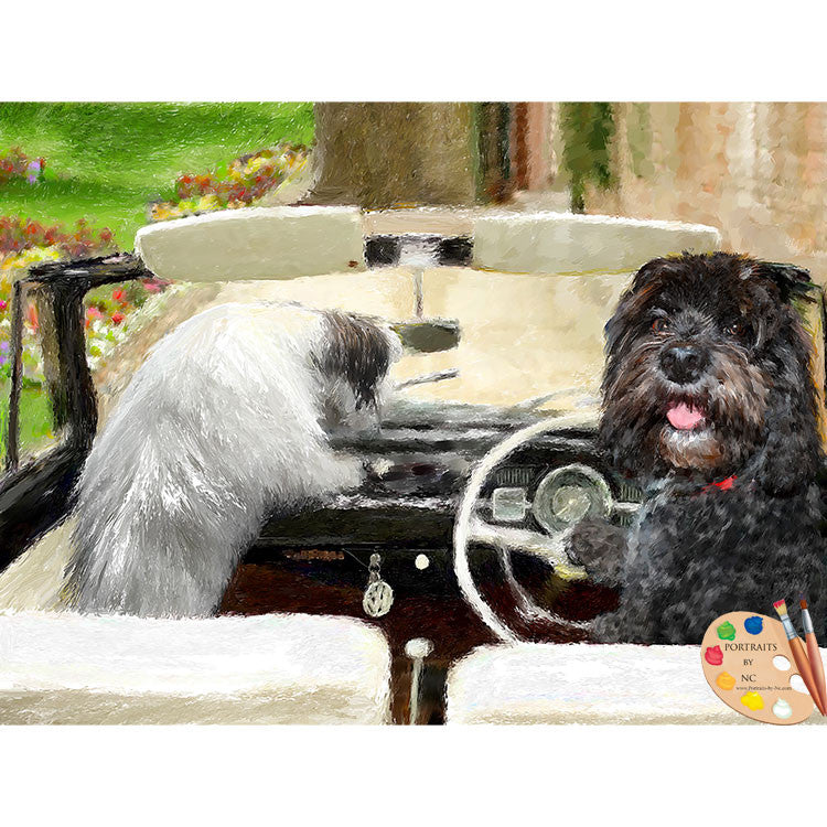 Dogs in Cars Painting