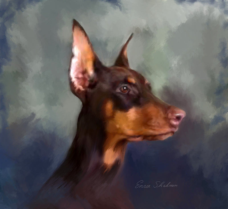 Doberman Custom Painted Dog Portrait
