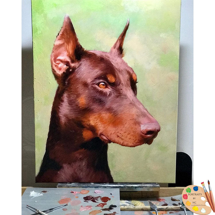 Dobermann Dog Portrait