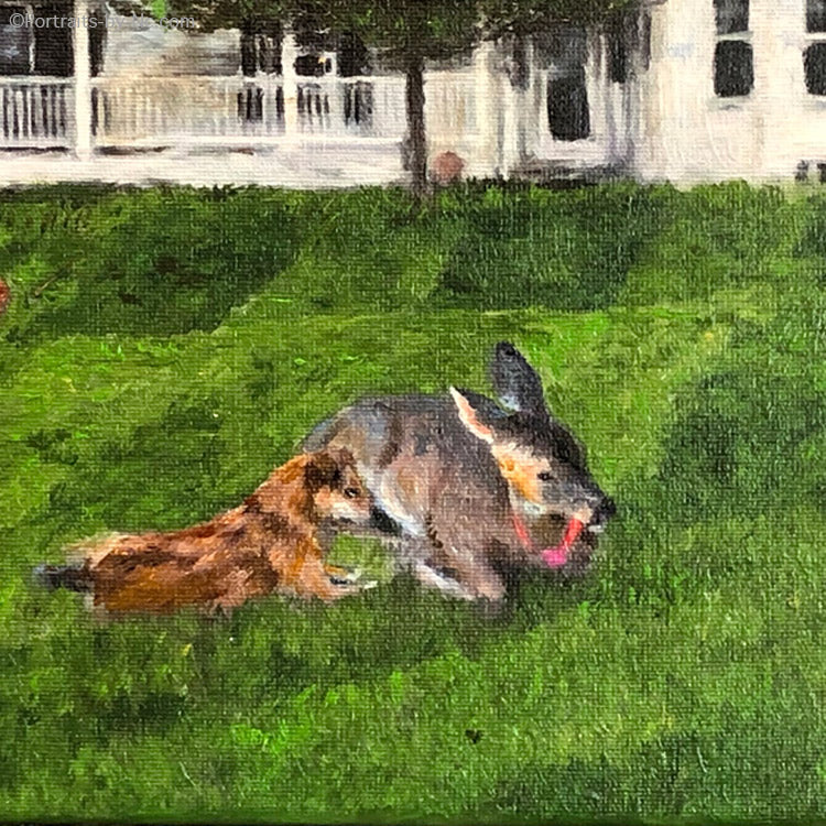 dog and deer painting