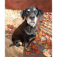 Dog in Foliage Painting 334