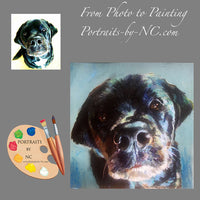 Black Dog Oil Portrait from Photo