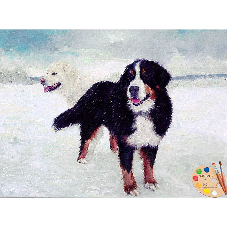 Great Pyrenees and Bernese Dog Painting 414