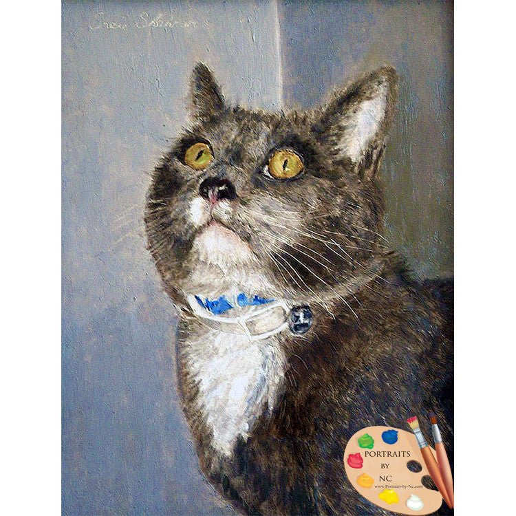 Grey Domestic Cat Painting 106