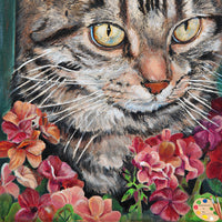 Tabby Cat with Flowers Painting