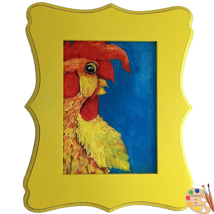 Framed Nursery Art Rooster Painting 311