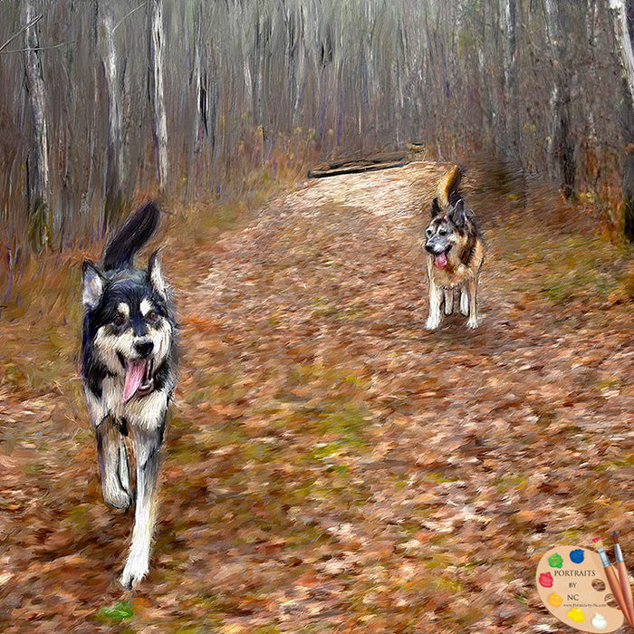 German Shepherds in Forest Painting 397