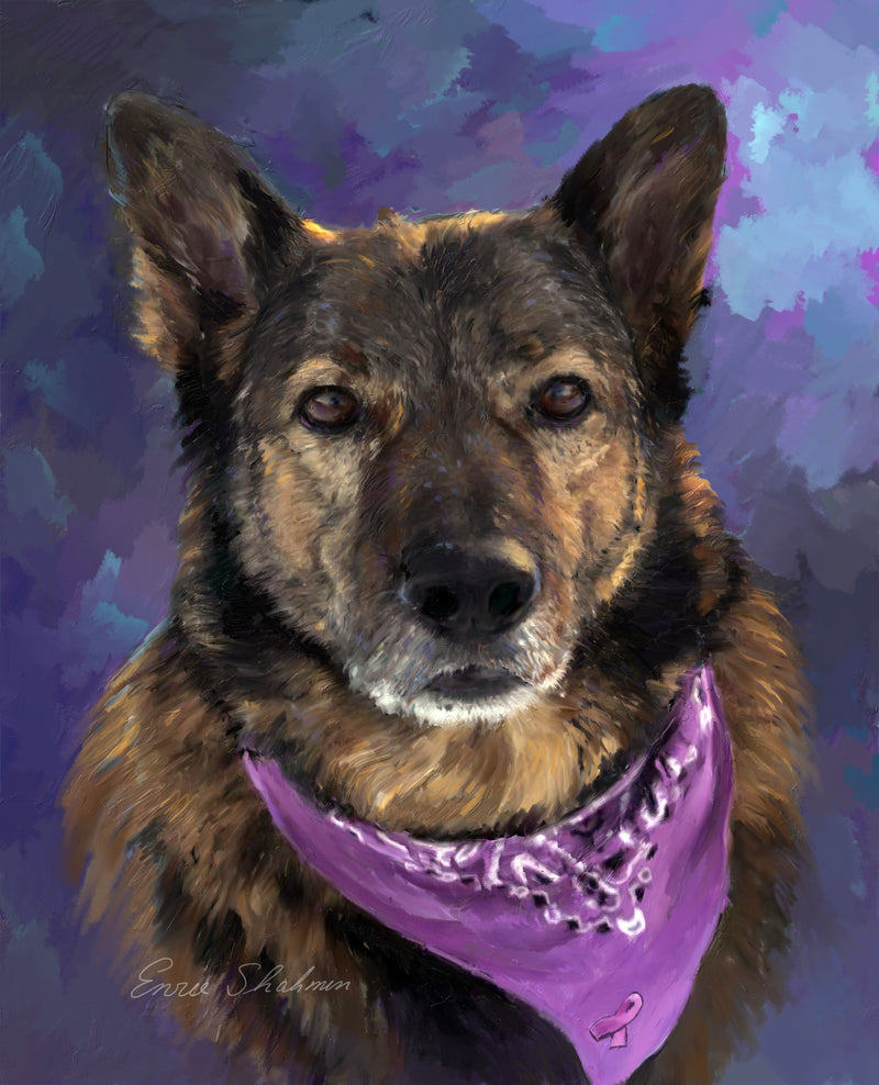 German Shepherd Custom Painted Pet Portrait