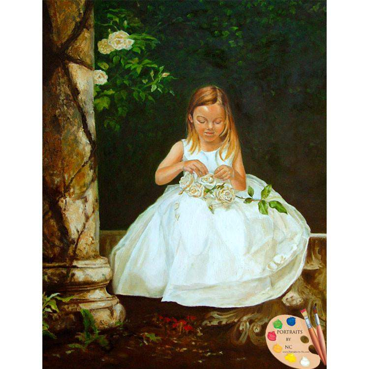 Girl in Rose Garden Painting 56