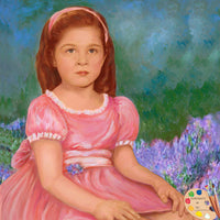 Child Portrait Painting in Monet Garden #223 - Portraits by NC