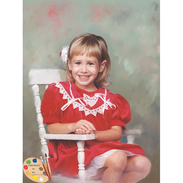 Girl on Rocking Chair Child Portrait