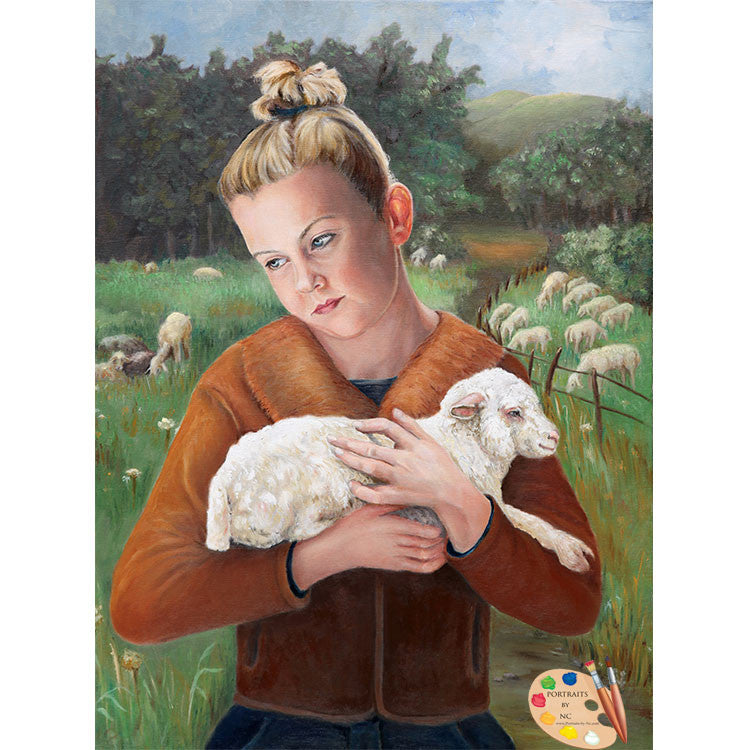 Girl with Sheep Painting