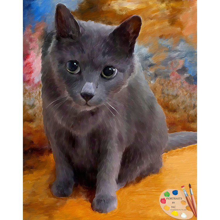 Grey Cat Painting 541