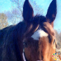 Brown Horse Portrait Painting 608 - Portraits by NC