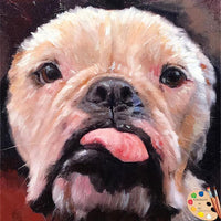Bulldog Portrait - Bulldog Painting from Photo - Dog Oil Portraits on Canvas or as Canvas Prints