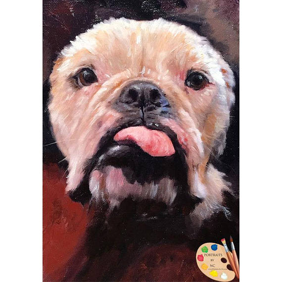 Bulldog Portrait - Bulldog Painting from Photo - Portraits by NC
