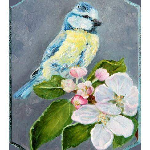 Chickadee Bird on Cherry Branch Folk Art Scenic Landscape Oil Painting - Portraits by NC