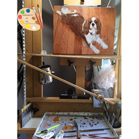 King Charles Spaniel Dog Painting on Easel 338
