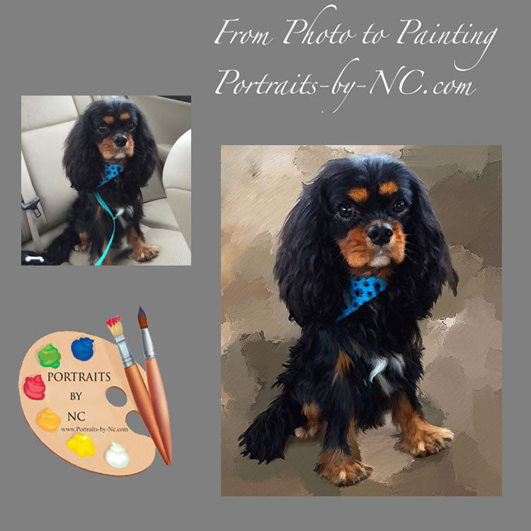King Charles Spaniel Dog Portrait from Photo 443