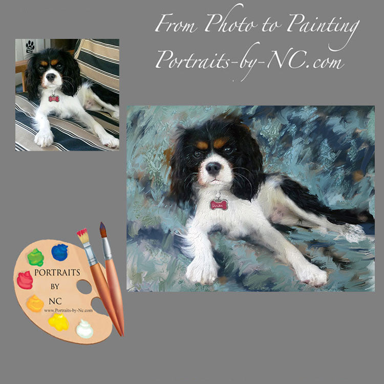 King Charles Spaniel Portrait from Photo 372