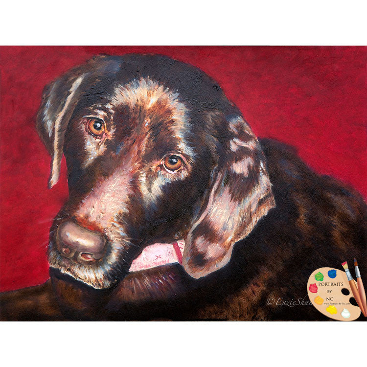 Brown Labrador Oil Painting #195 - Portraits by NC