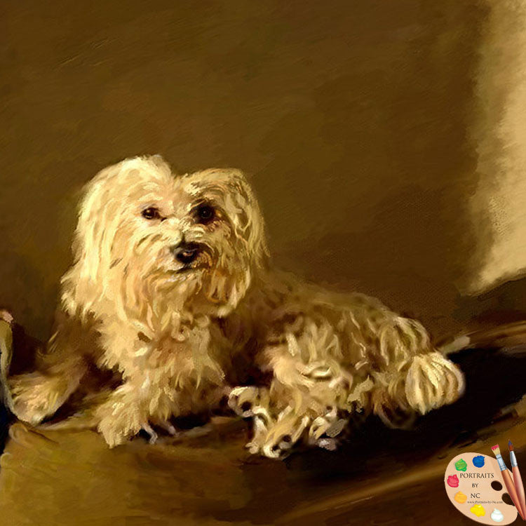Maltese Dog Painting 399 - Portraits by NC