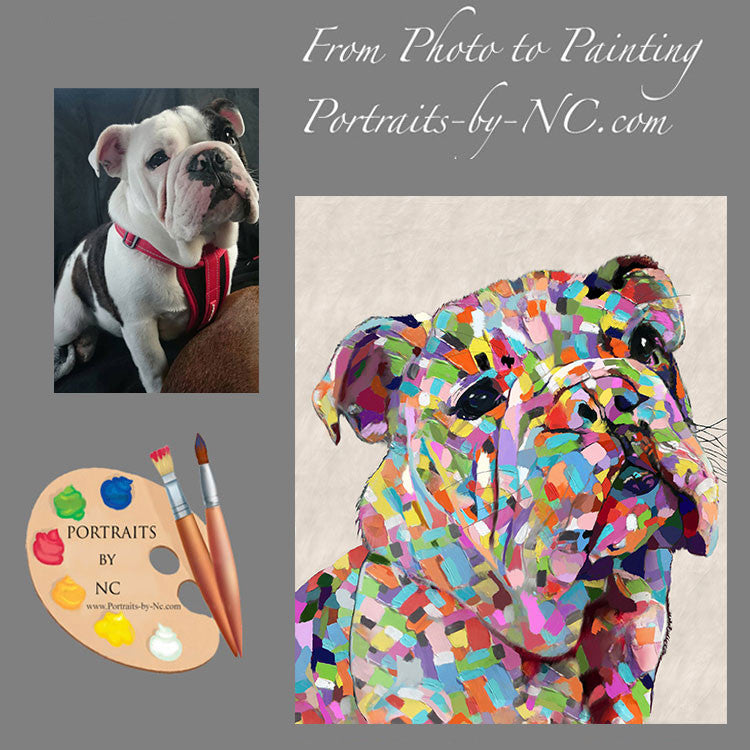 Colorful Bulldog Pet Portrait from Photo