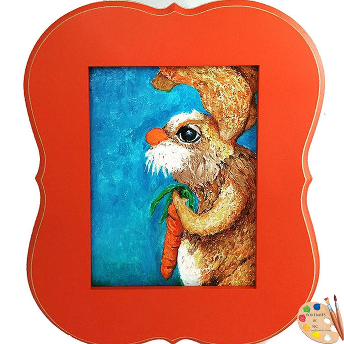 Framed Nursery Art Rabbit Painting 313
