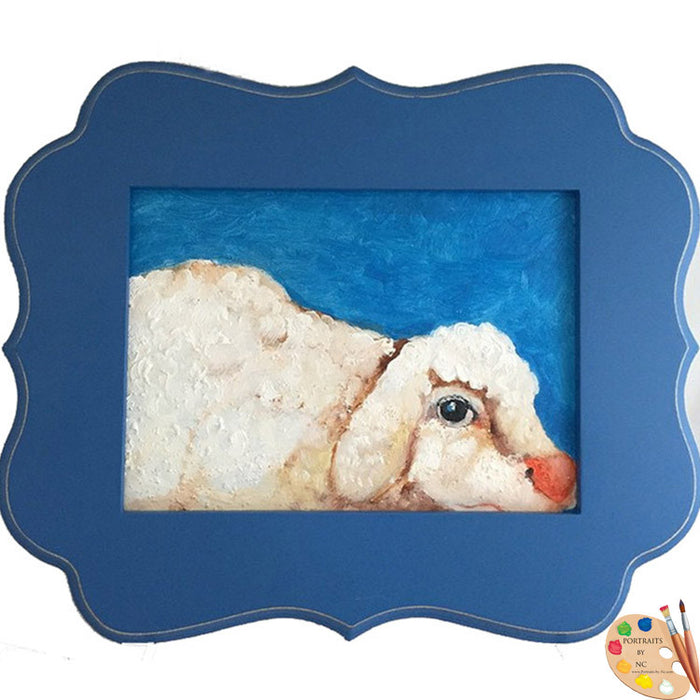 Framed Nursery Art Sheep Painting 312