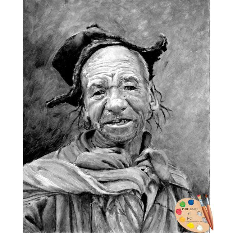 Elderly Man Portrait Funky Hat Painting 60
