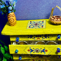 Miniature Dollhouse Chest with Drawers / Dresser - Painted and Decoupaged Shabby Chic Decor
