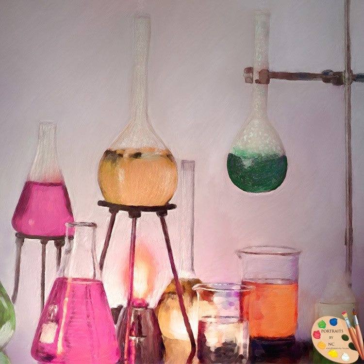 Still Life Magical Beakers Painting 315