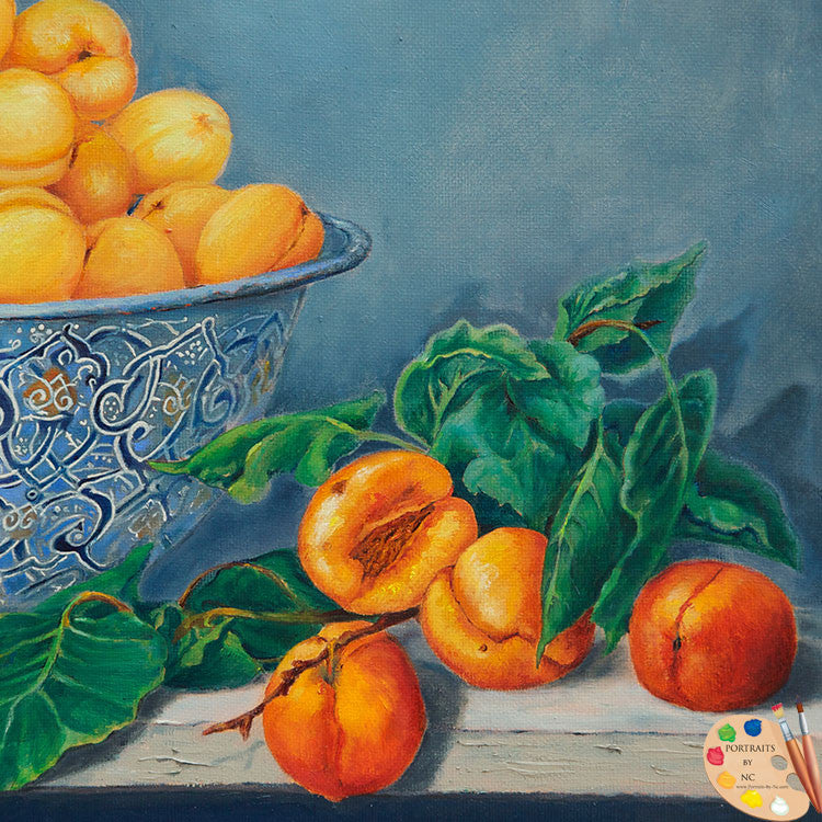 Still Life Painting Apricots and Peaches Detail 176