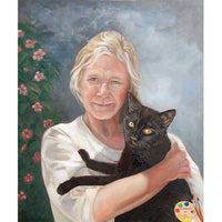 Woman with Cat Painting