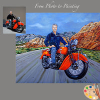motorcycle rider portrait from photo