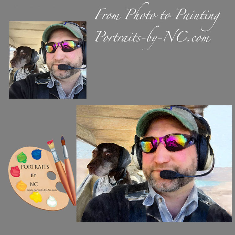 Pilot and pet painting from photo