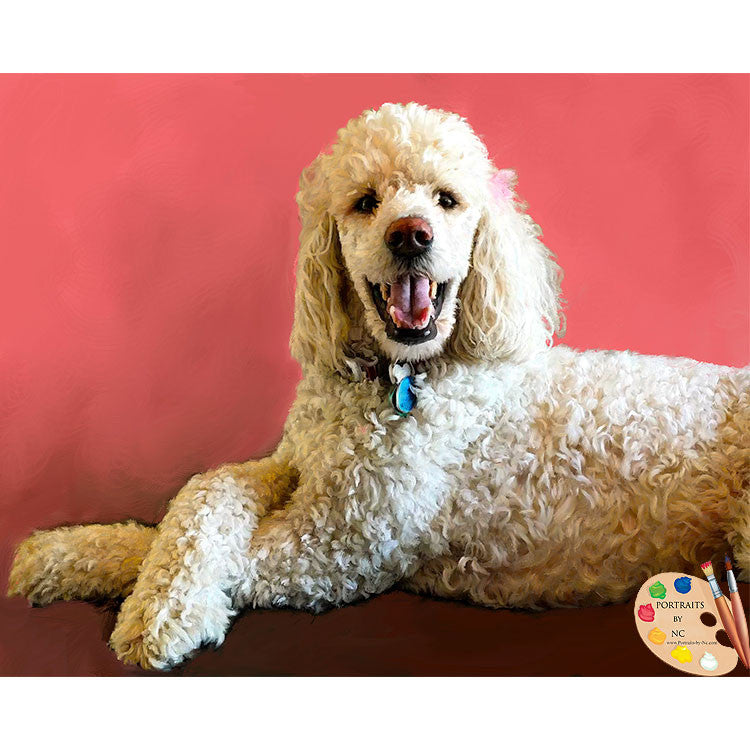 White Poodle Dog Painting 480