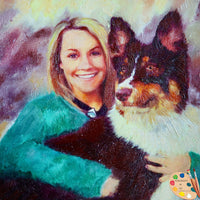 People With Pets Portrait - Woman with Australian Shepherd Dog