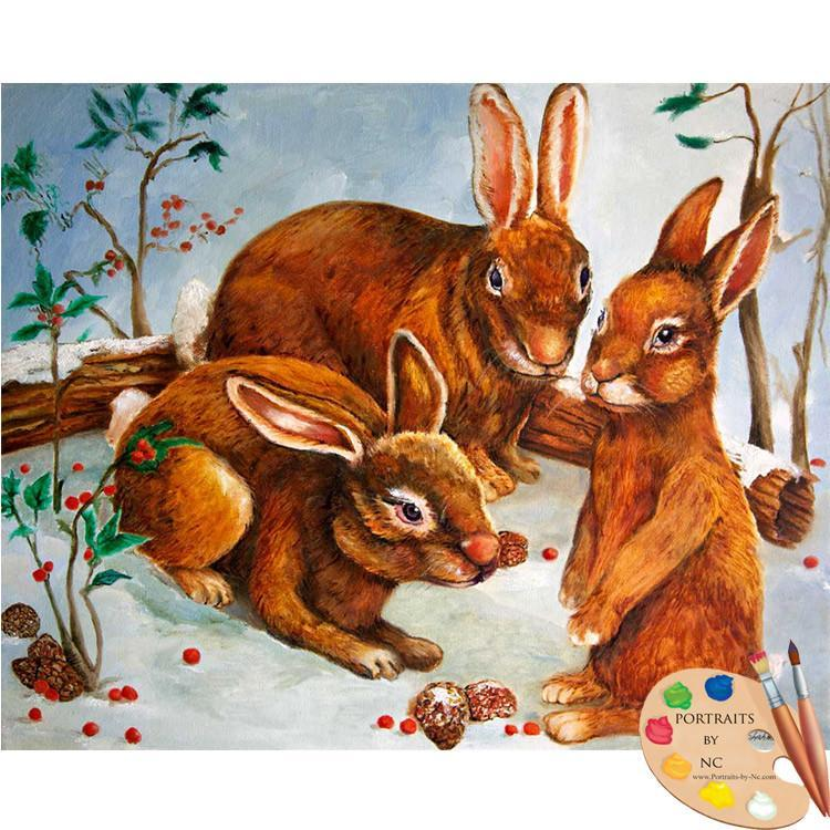 Rabbits in Snow Acrylic Print