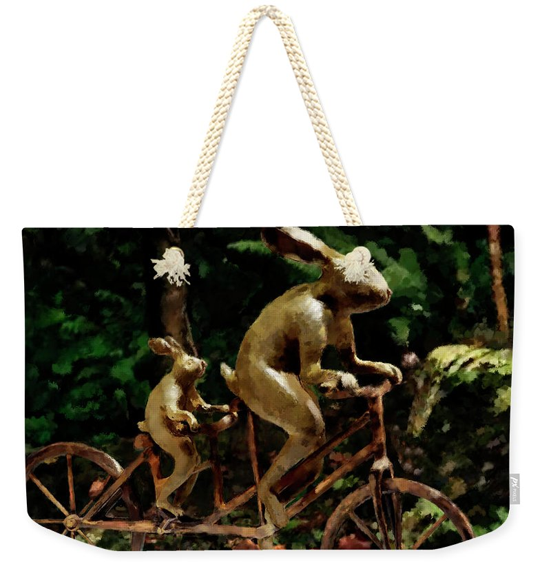 Rabbits Tandem Bicycle Race - Weekender Tote Bag Back