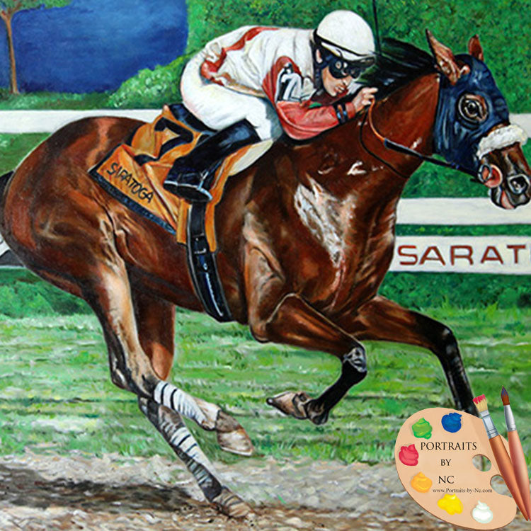 racehorse oil painting 298